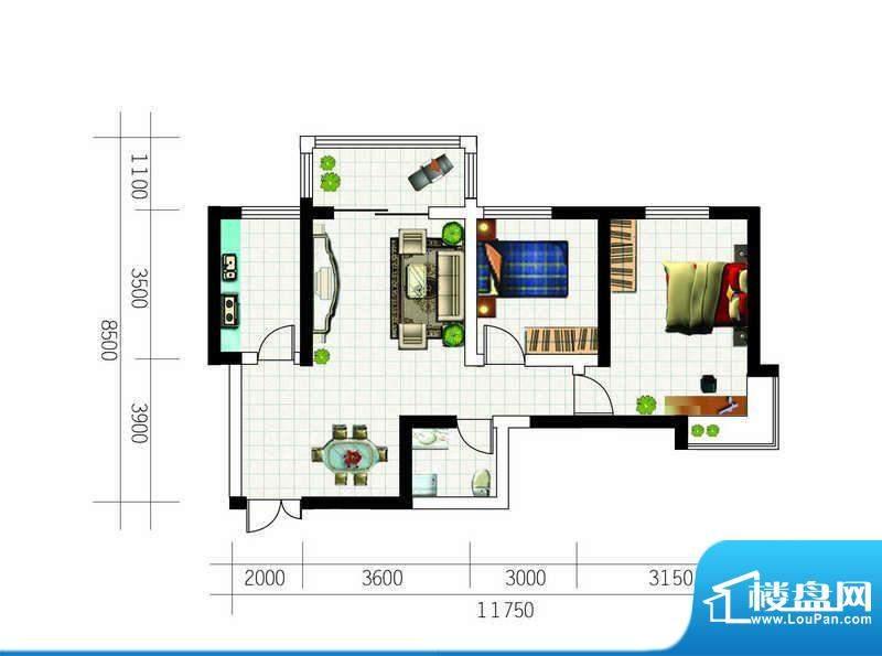 亚太东方星座户型图户型5 2室2面积:90.44平米