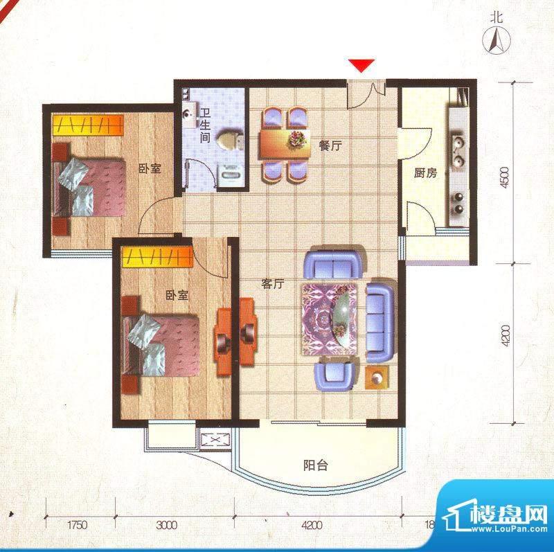鸿安国际广场户型图B2户型 2室面积:97.97平米