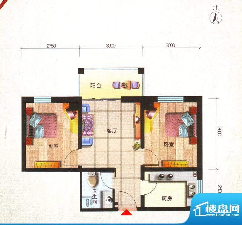 鸿安国际广场户型图C1户型 2室面积:63.07平米