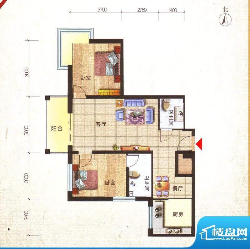 鸿安国际广场户型图C2户型 2室面积:97.68平米
