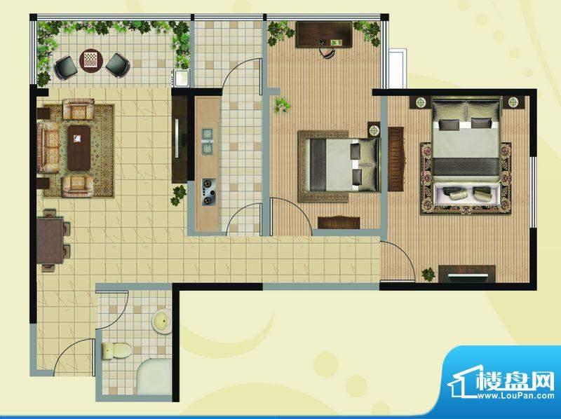 凯地华丽家族D户型图面积:90.76平米