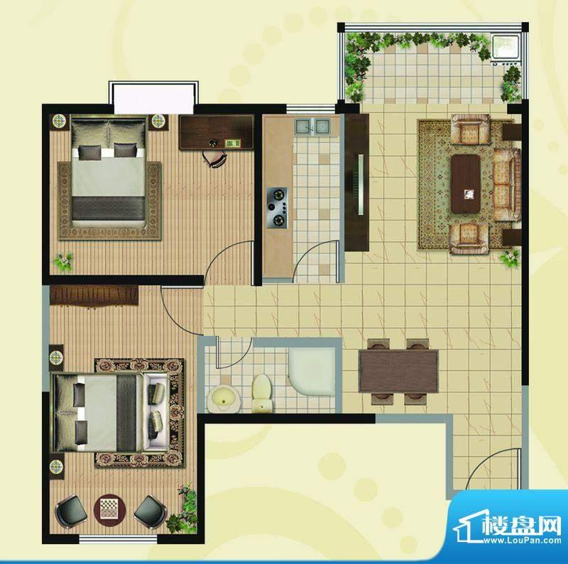 凯地华丽家族A户型图面积:91.70平米