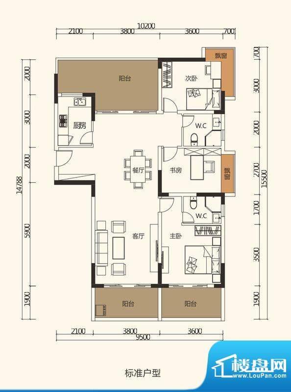中珠上郡户型图2栋、3栋、4栋2面积:127.69平米