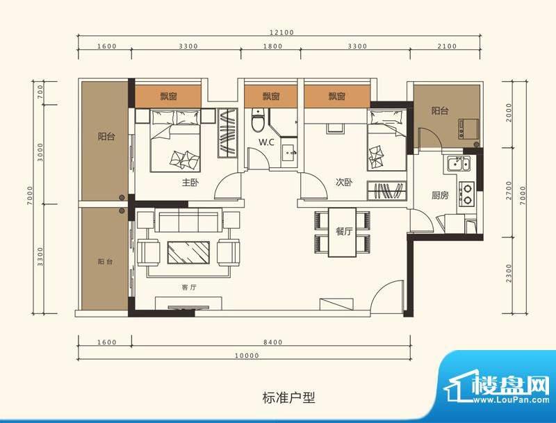 中珠上郡户型图2栋、3栋、4栋1面积:77.81平米