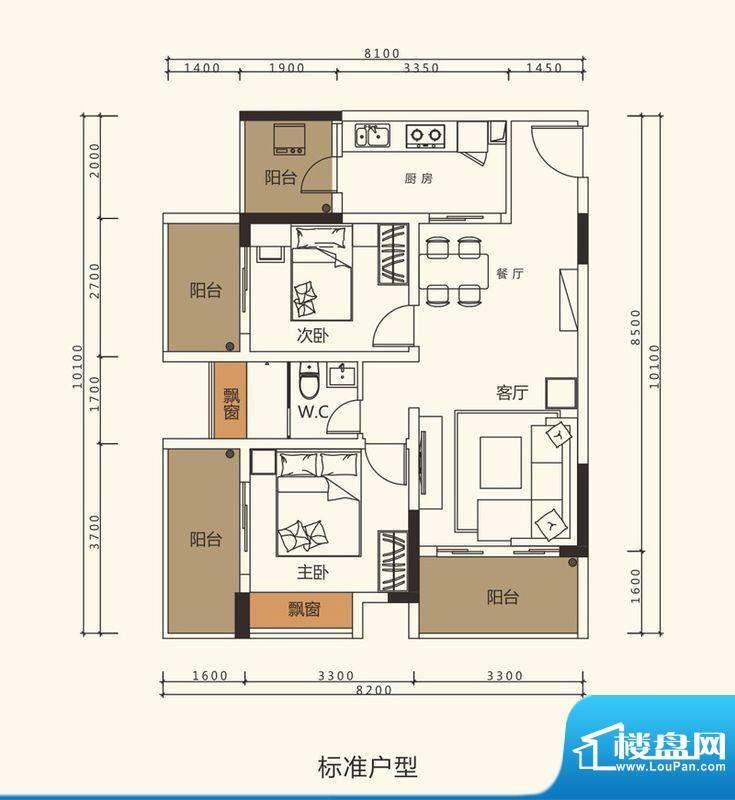 中珠上郡户型图2栋、3栋、4栋1面积:76.37平米