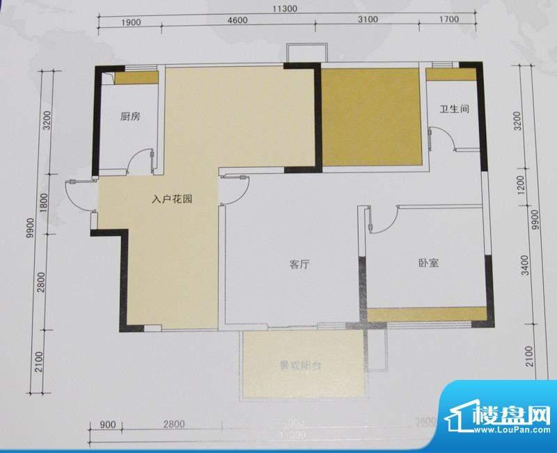 金域华府户型图1、2、3、7栋81面积:81.00平米