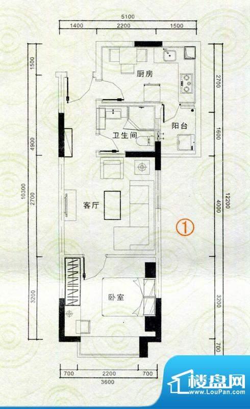 恒隆明珠户型图A1户型 1室2厅1面积:54.74平米