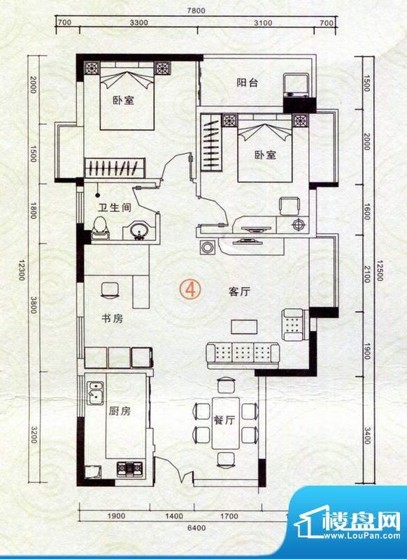 恒隆明珠户型图A4户型 3室2厅1面积:92.65平米