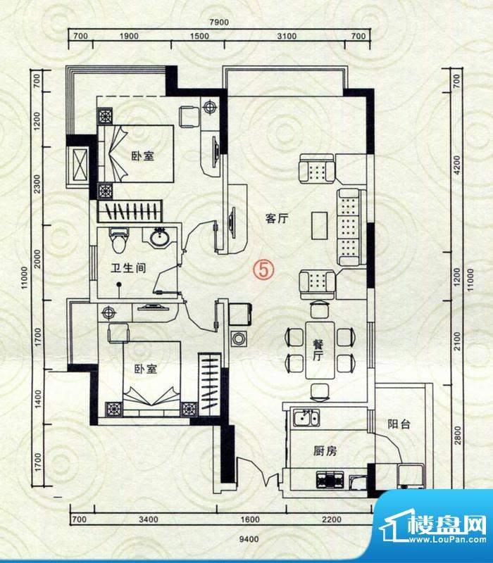 恒隆明珠户型图A5 2室2厅1卫1厨面积:93.65平米