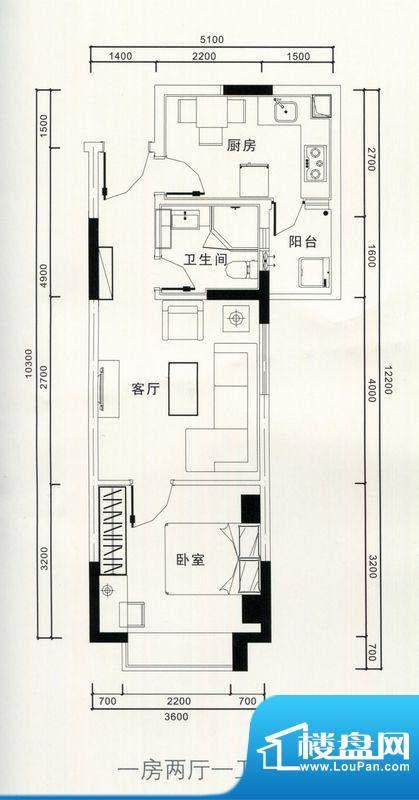 恒隆明珠户型图一房两厅一卫户面积:44.00平米