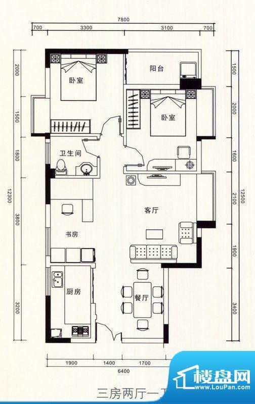 恒隆明珠户型图三房两厅一卫户面积:79.00平米