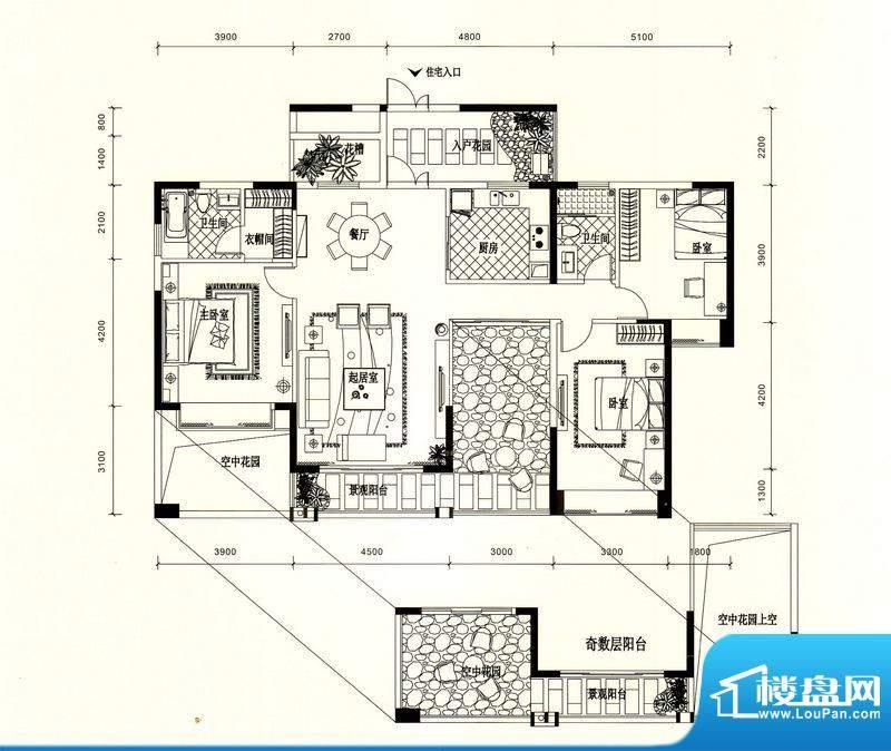 锦园户型图2/3栋二单元03户型 面积:141.72平米