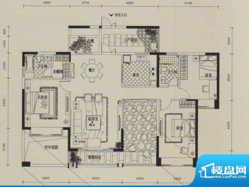 锦园户型图2/3号楼二单元03户型面积:165.00平米