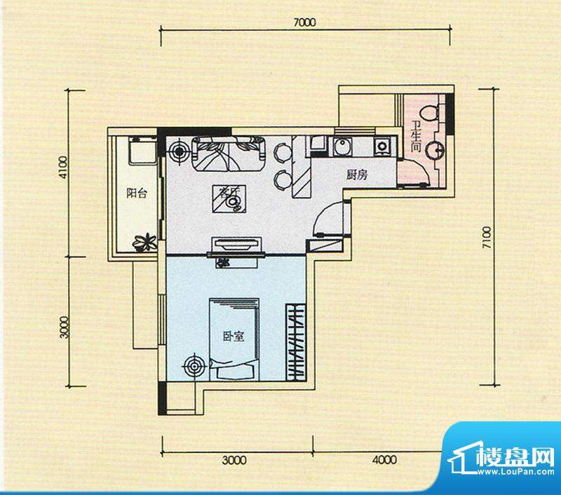 金奥园户型图01、04户型 1室1厅面积:40.76平米