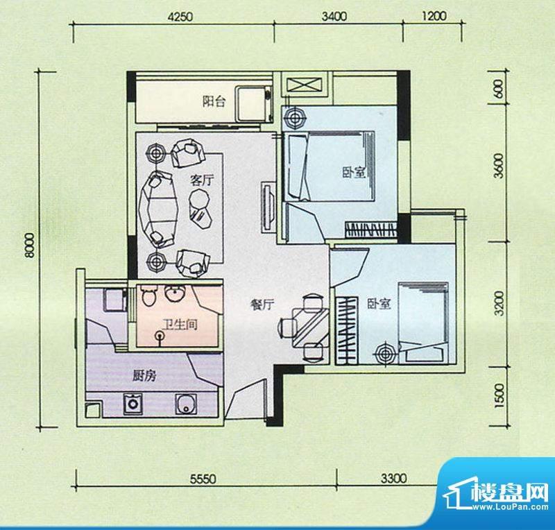 金奥园户型图06、07户型 2室2厅面积:65.05平米