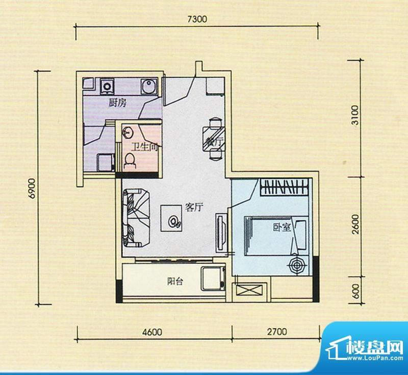 金奥园户型图02、03户型 1室1厅面积:42.31平米