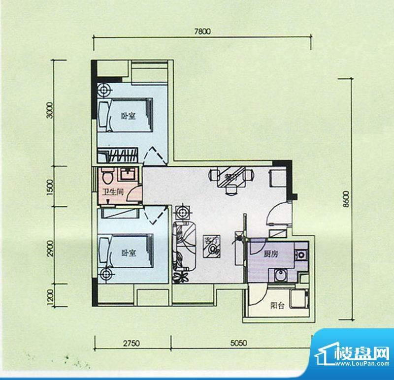 金奥园户型图05、08户型 2室2厅面积:53.99平米