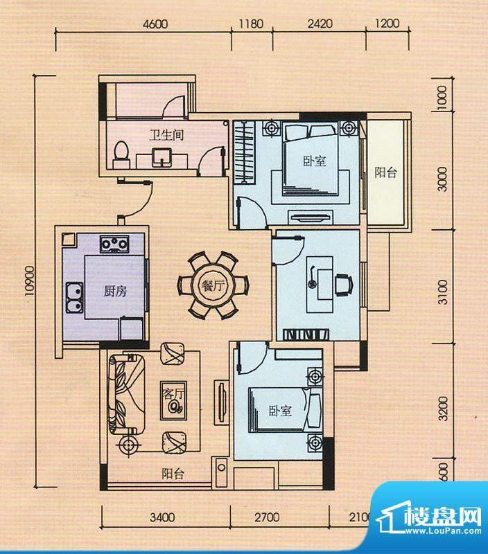 金奥园户型图01+02户型 2室2厅面积:85.00平米