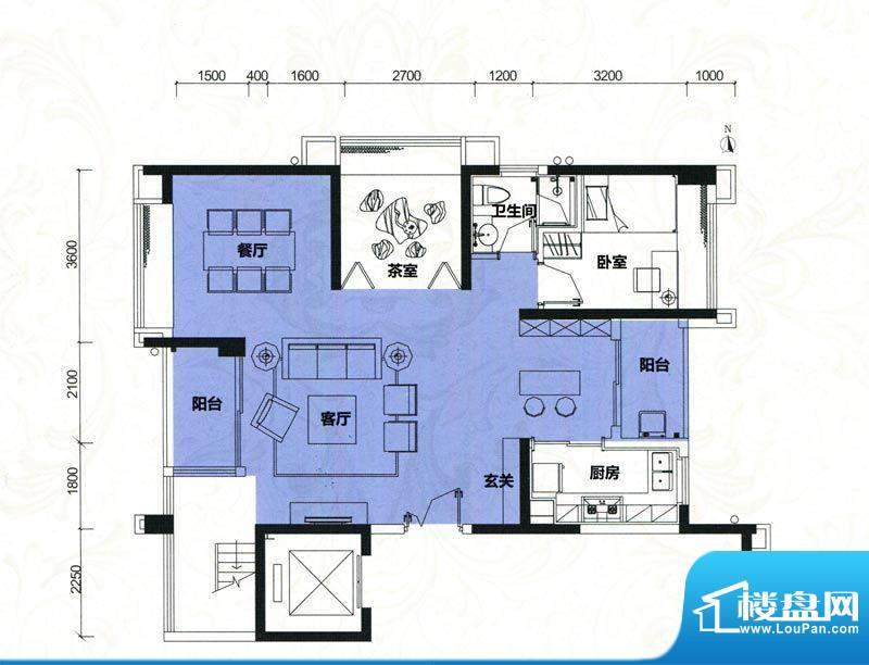 金地伊顿山户型图4栋1单元01房面积:180.13平米