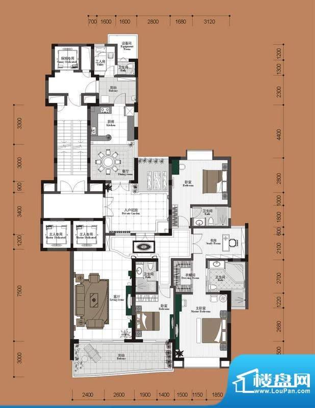 钰海帝景户型图B户型 4室2厅4卫面积:264.13平米