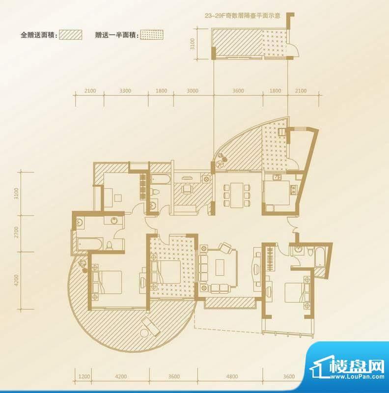 凤凰海域户型图C1户型 4室2厅3面积:194.44平米