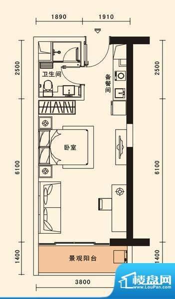 格力香樟户型图1栋11户型 1室1面积:47.15平米