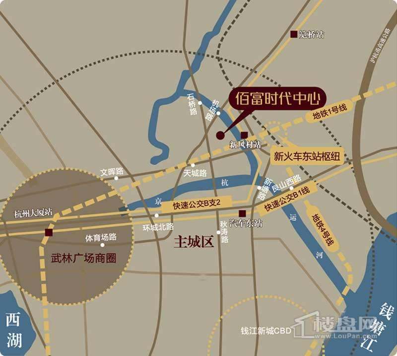 佰富时代中心写字楼交通图