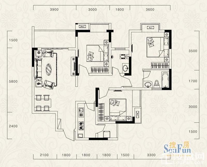 1、2号楼标准层B户型