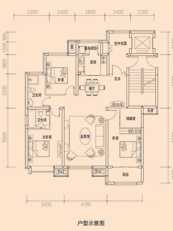 一期洋房标准层C1户型图