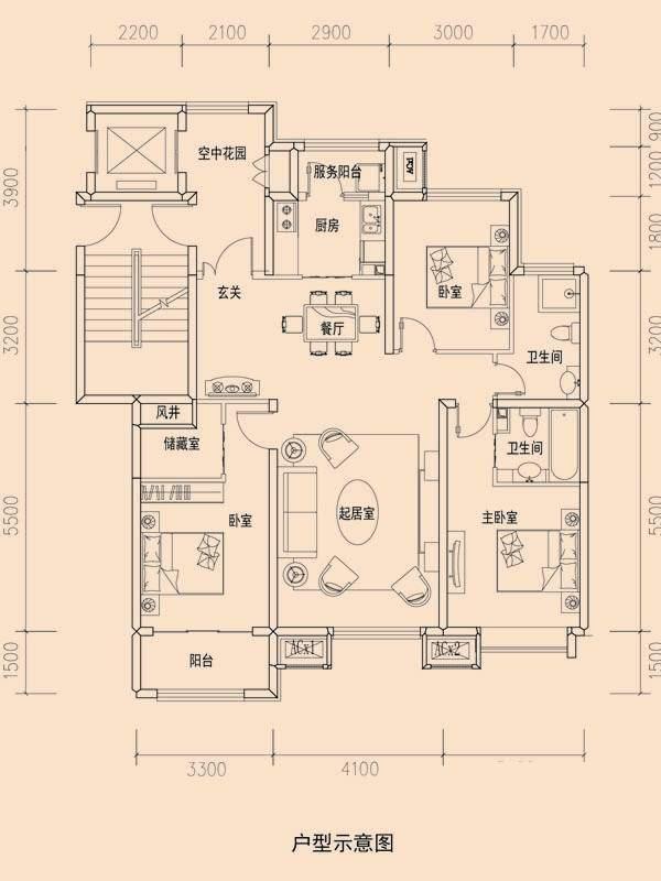 一期洋房标准层C2户型图