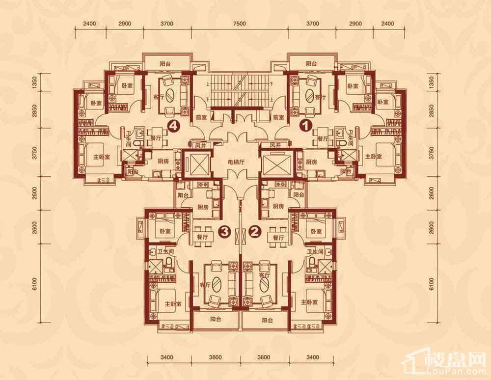 8#楼1单元3-23层平面图