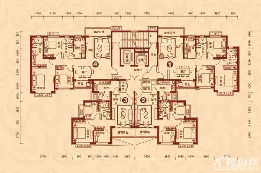 9#楼1单元3-23层平面图