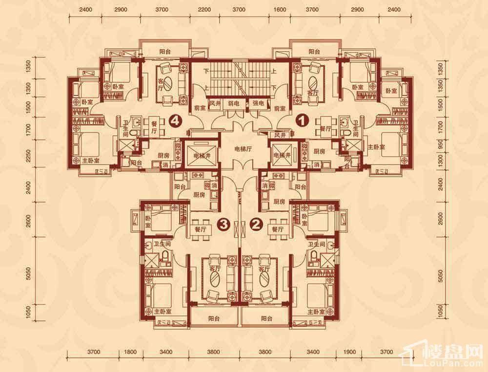 8#楼2单元3-23层平面图