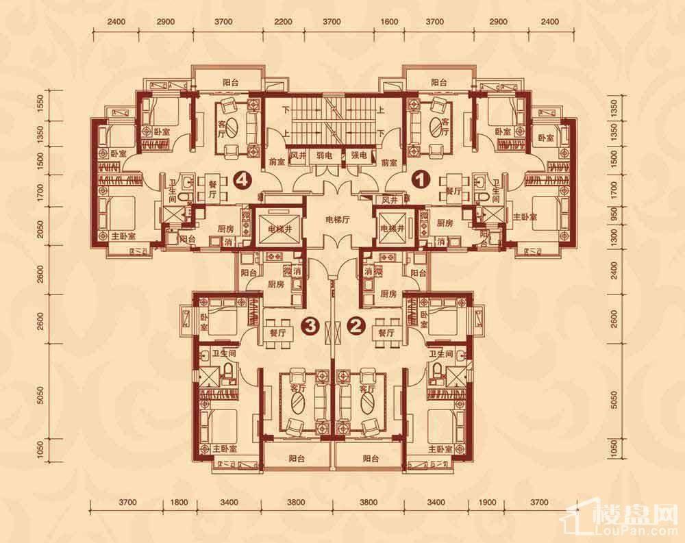 10#楼3-23层平面图