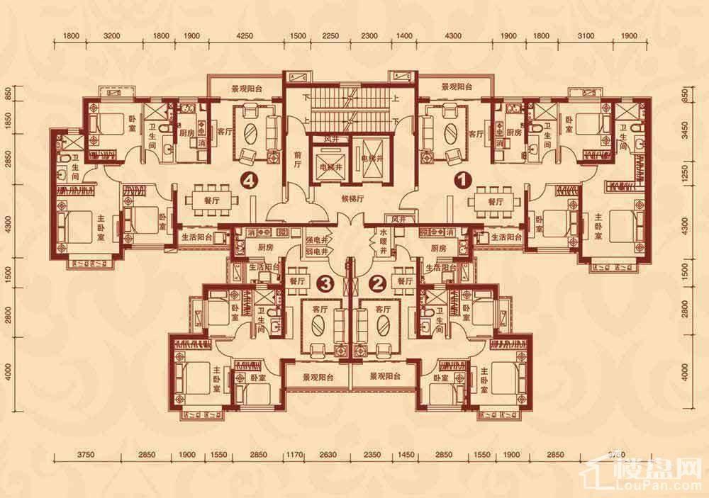9#楼2单元3-23层平面图