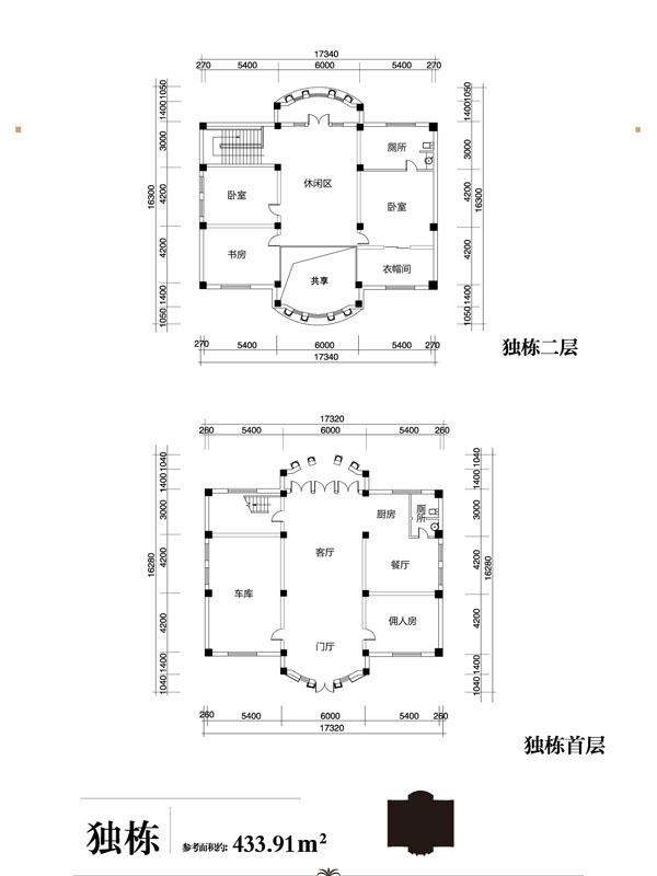 独栋别墅标准层户型图
