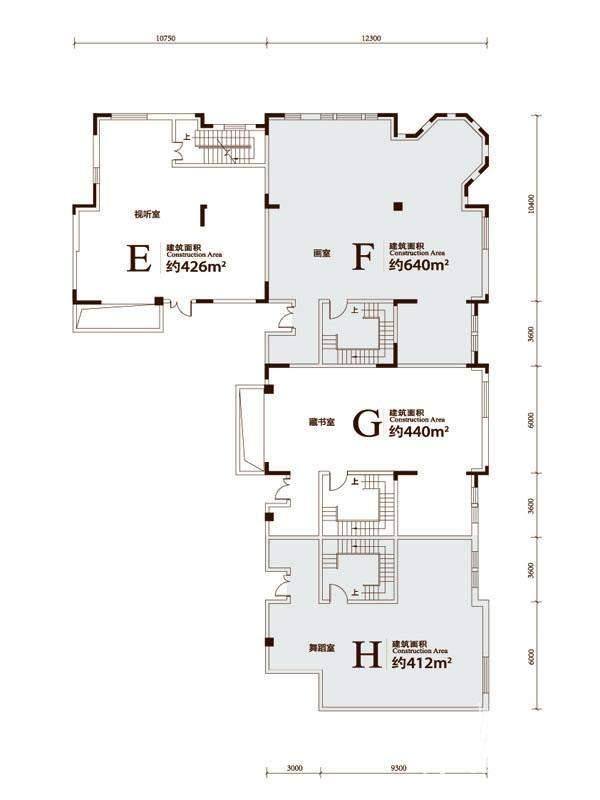 一期联排别墅EFGH户型地下平面图