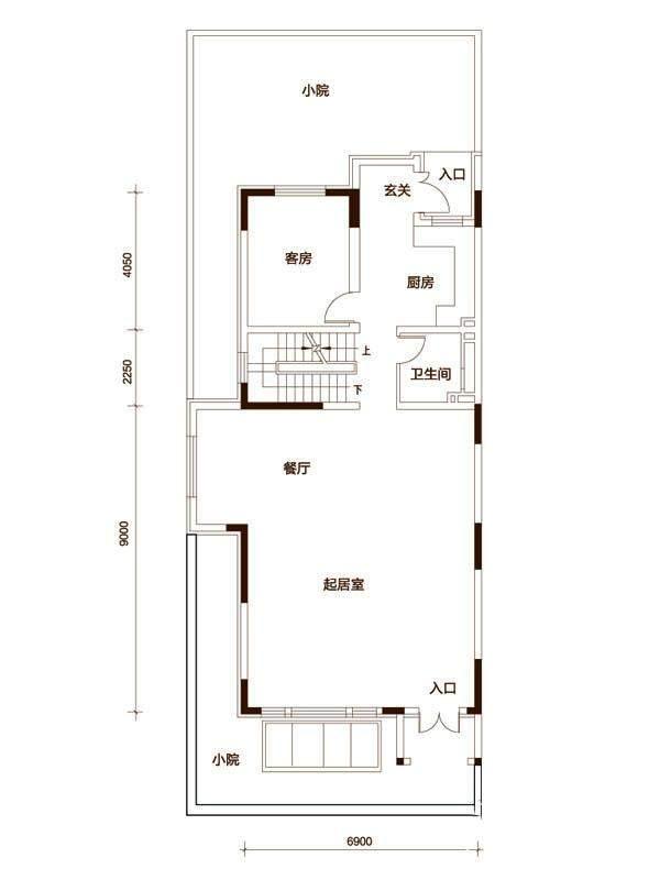 一期联排别墅D户型首层平面图