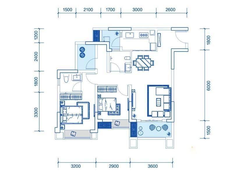 一期1号楼标准层A5户型