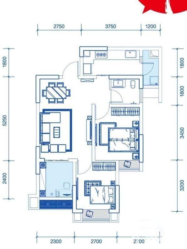 一期1号楼标准层A4户型