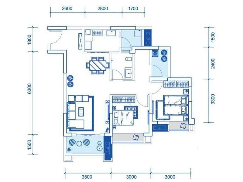 一期1号楼标准层A1户型