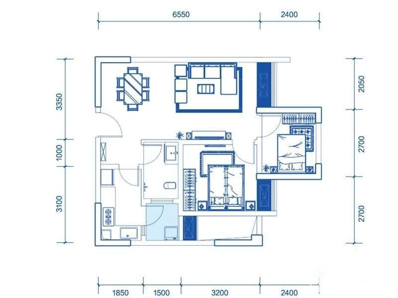 一期1号楼标准层A3户型