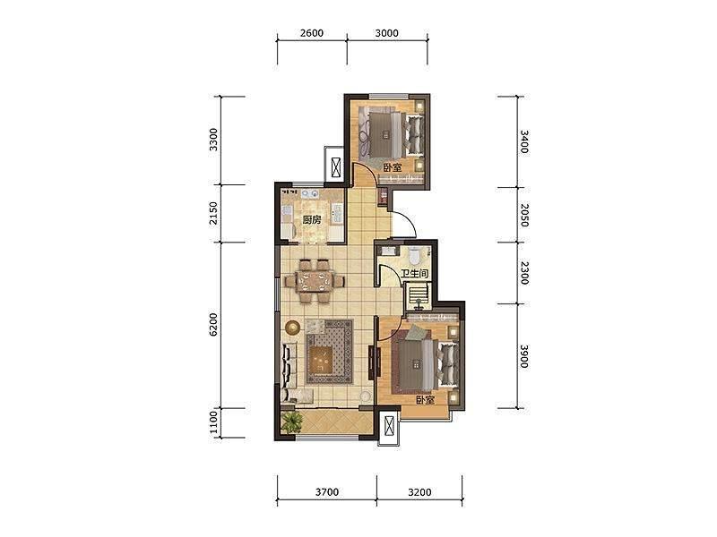 小高层标准层83平户型