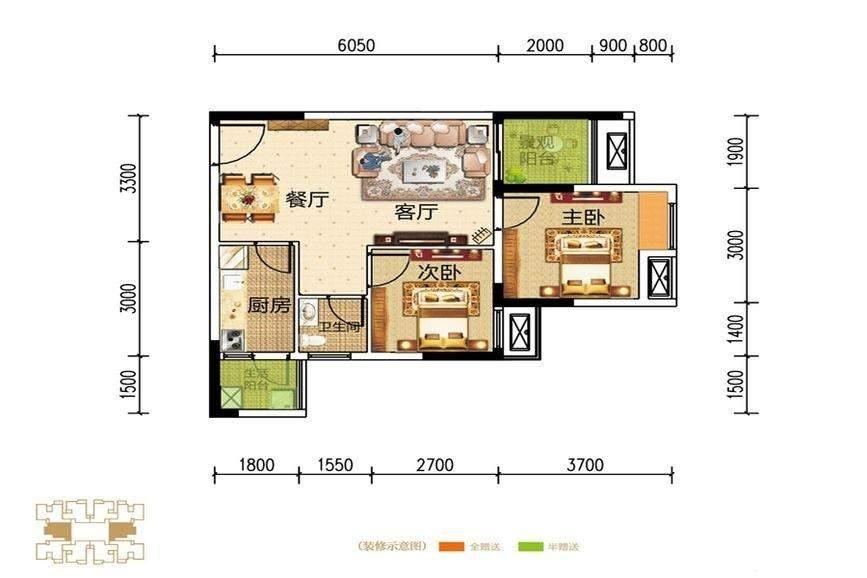 信达滨江蓝庭一期1号楼标准层C户型