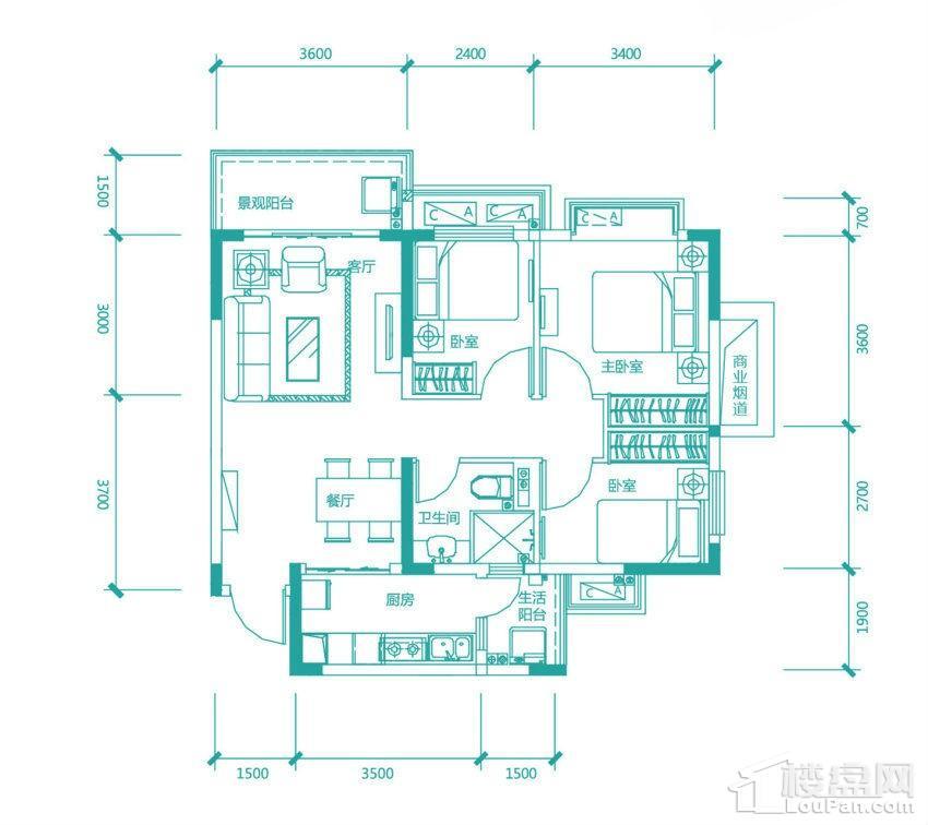 高层97/98#1号房户型