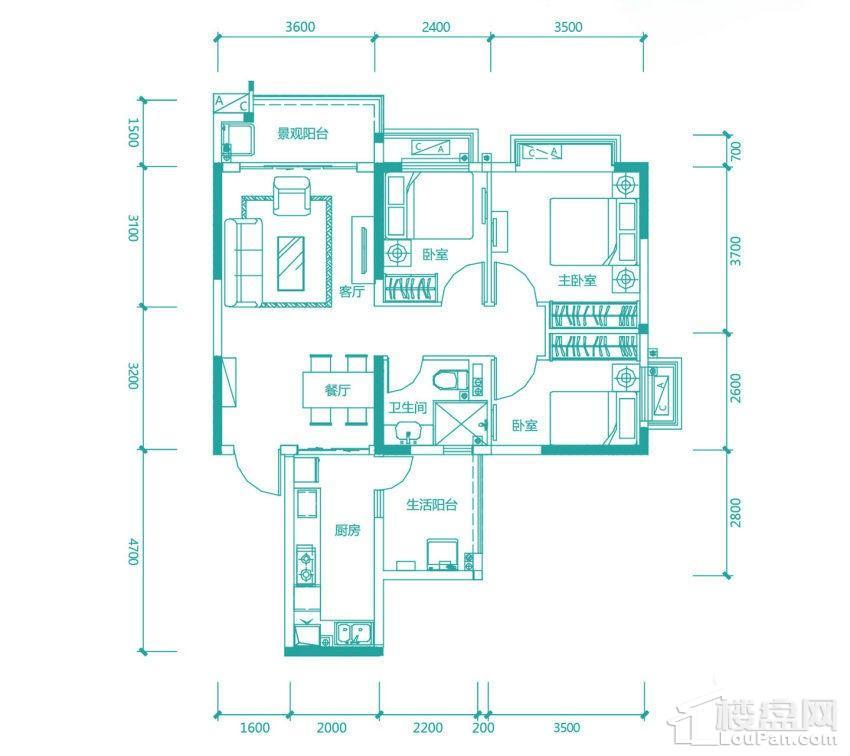 高层97/98#4号房户型