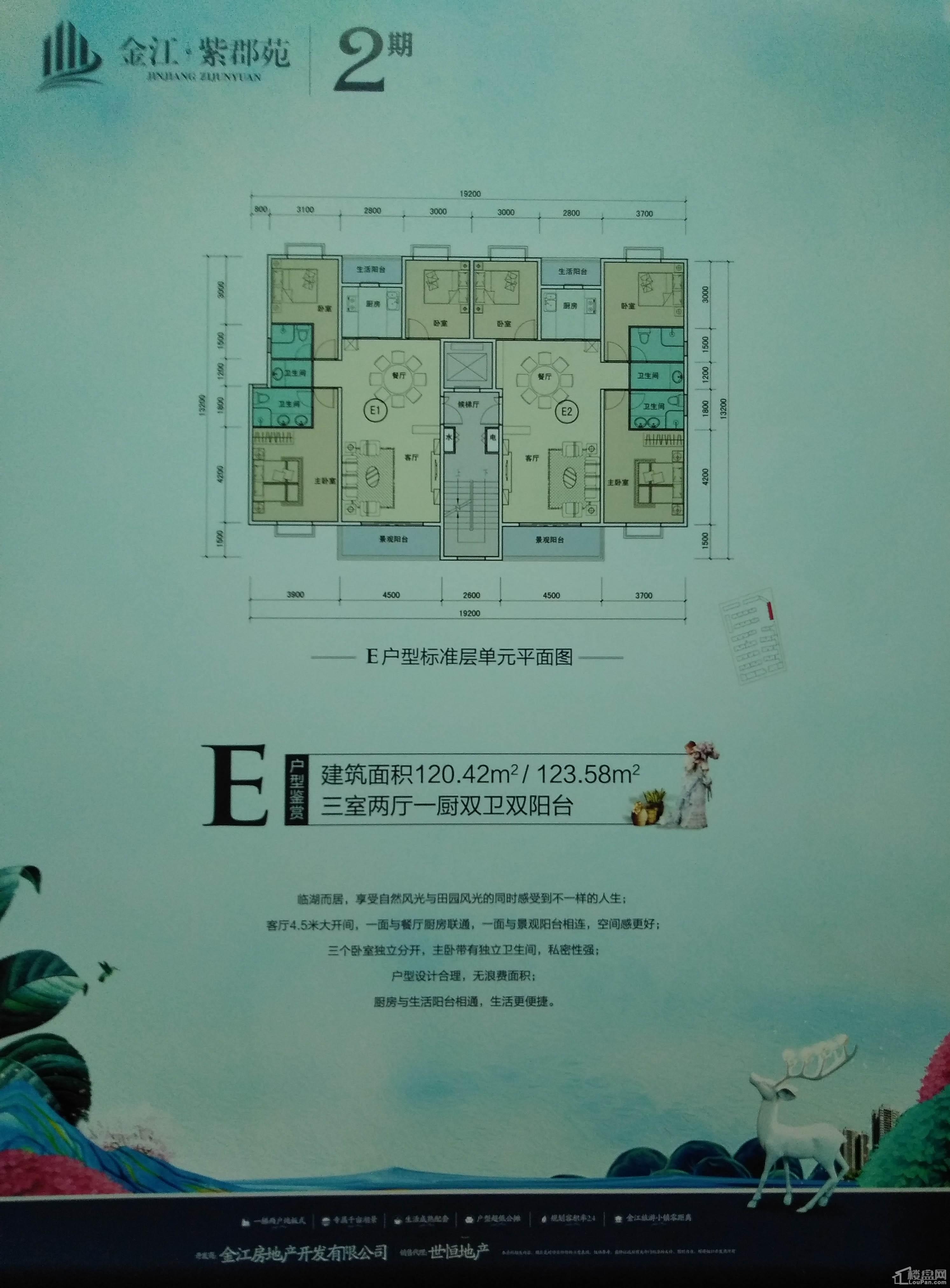 二期E户型 三房两厅一厨双卫双阳台 120.42㎡/123.58㎡